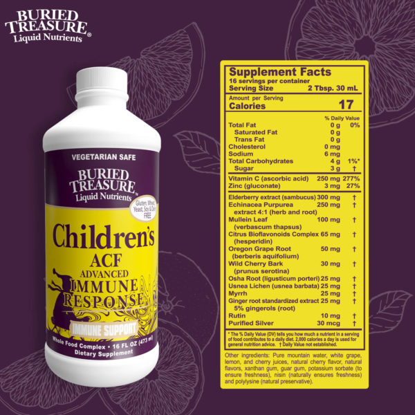 Ingredients for Buried Treasure Children's ACF Advanced Immune Response