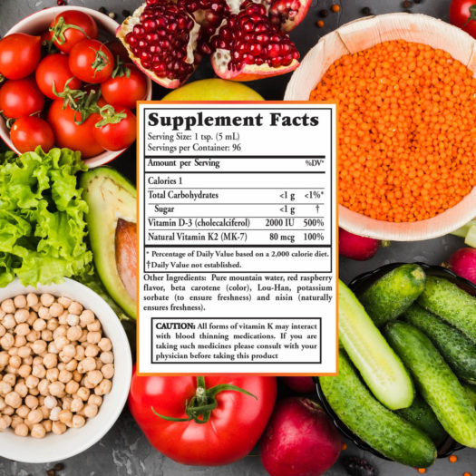 Ingredients for Buried Treasure D3 liquid vitamin